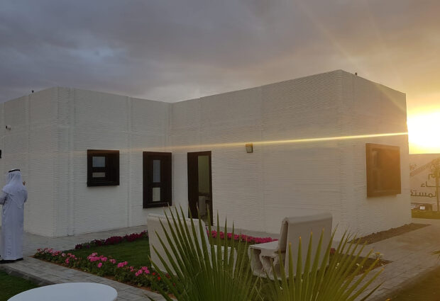 The outside of the 3D Studio 2030 3D printed one-bedroom house